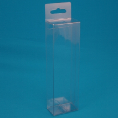Transparent tall retail folding carton with hanger