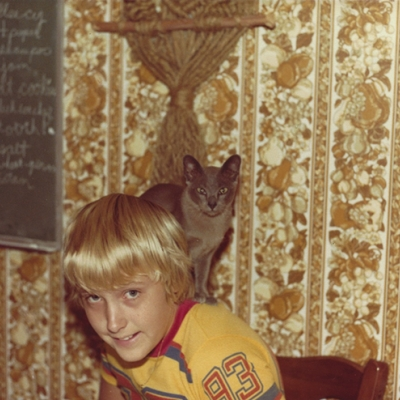 Rob & his cat, Casey, 1980