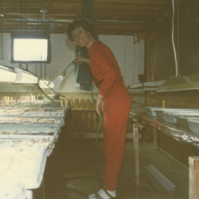 Liz starting seeds in the basement 1985/86