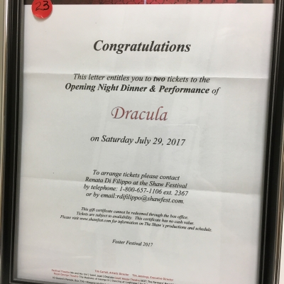 Opening Night Dinner & Tickets to Shaw Festival's Dracula