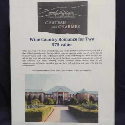 Wine Country Romance for 2 to Chateau des Charmes