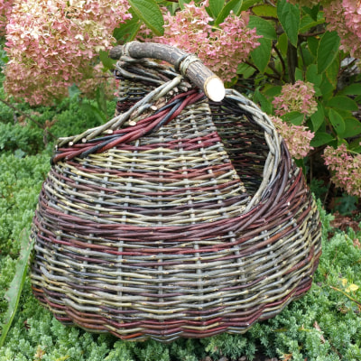 Asymmetrical bicolour willow basket