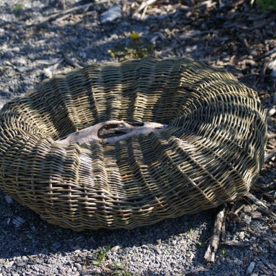 Sculptural basket inspired by stone